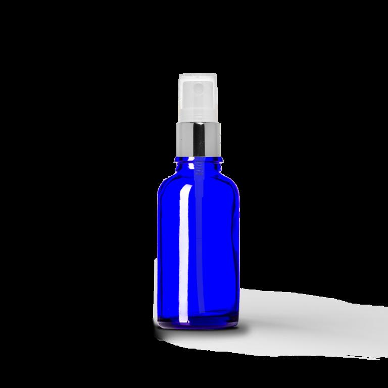 30ml Gümüş Sprey Başlıklı Mavi Cam Şişe