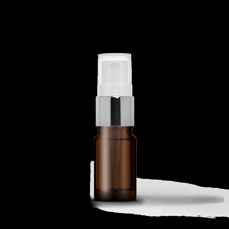 5ml Gümüş Sprey Başlıklı Amber Cam Şişe (10 Adet)