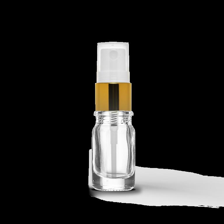 5ml Gold Sprey Başlıklı Saydam Cam Şişe (10 Adet)