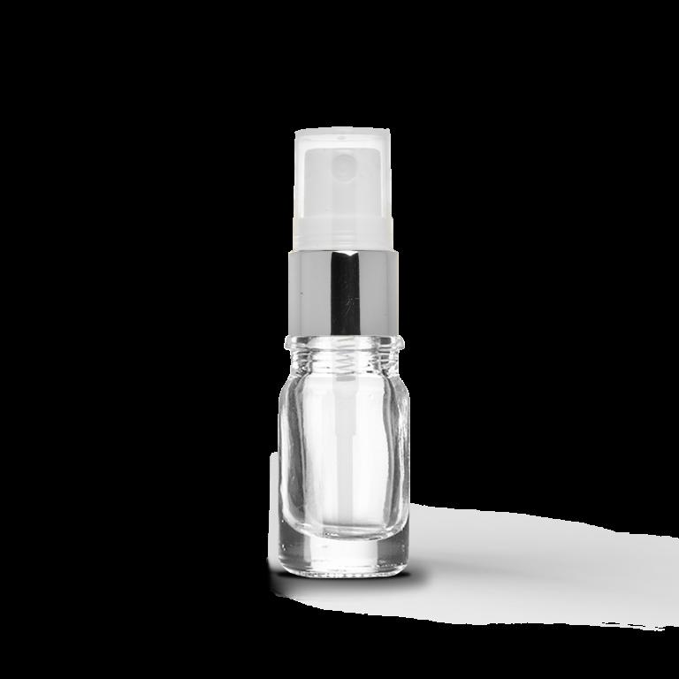 5ml Gümüş Sprey Başlıklı Saydam Cam Şişe