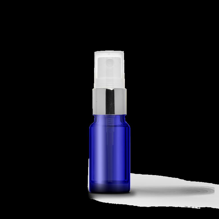 10ml Gümüş Sprey Başlıklı Mavi Cam Şişe (10 Adet)