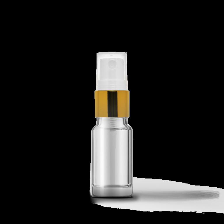 10ml Gold Sprey Başlıklı Şeffaf Cam Şişe (10 Adet)