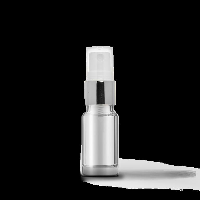10ml Gümüş Sprey Başlıklı Şeffaf Cam Şişe (10 Adet)